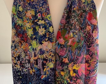 100% Mulberry Silk Scarf | Crepe de Chine | Medium Weight Designer Print Tiny Flowers on Navy | Hypoallergenic | 51x190cm