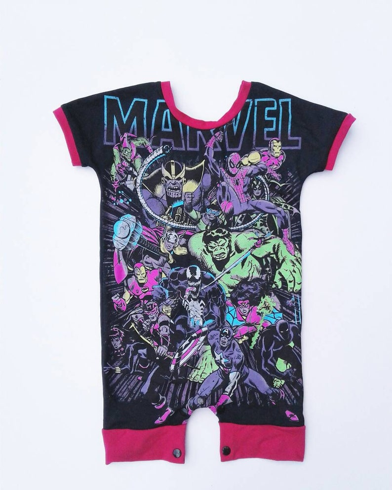 c84872b637fd Upcycled Marvel T-Shirt Romper-Boy Romper-Girl Romper-Boy | Etsy