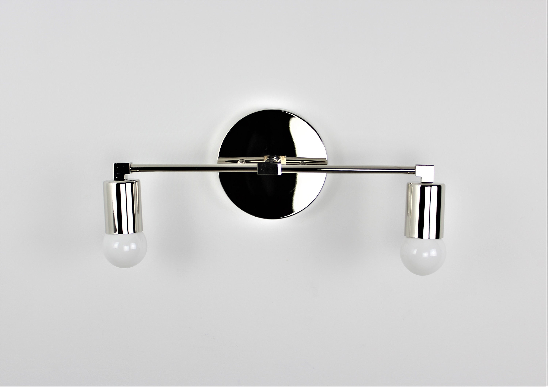 Image of: Bathroom Vanity Light Wall Sconce Raw Brass Mid Century Modern Industrial Wall Light Modern Lighting 2 Light Lux Lighting