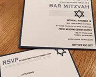 Bar Mitzvah Invitation with RSVP card