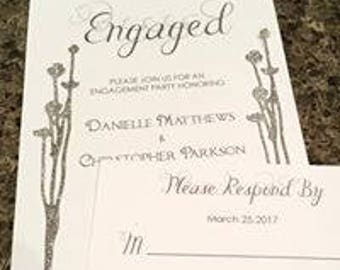 Engagement Invitation with RSVP card - silver glitter detail