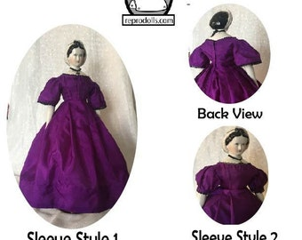 """1850s-1860's Ballgown Dress pattern for 18"""" China Head Doll by ReproDolls.com"""