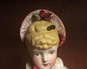 "Doll sized Bebe 1880s Bonnet for 20"" doll"