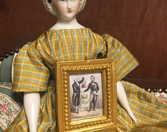 Miniature gilded framed artworks by currier and Ives