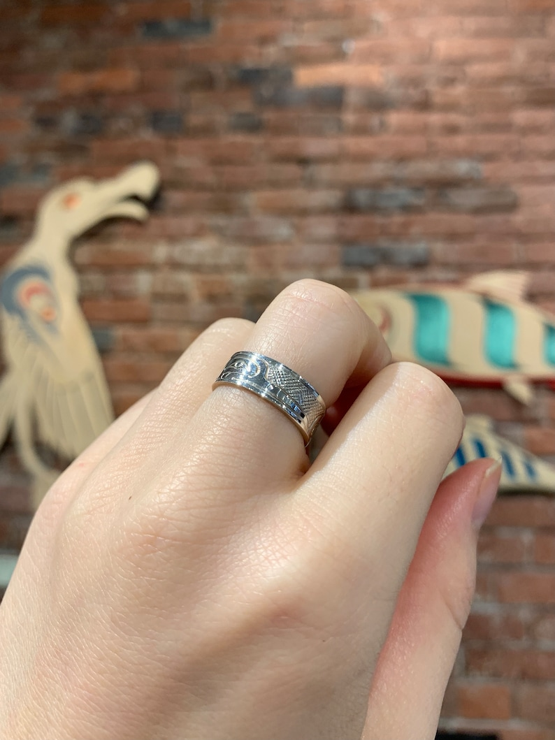 Hand Carved Silver Band Humming Bird Silver Ring by First Nations Artist Travis Henry