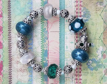 Handmade Blingy Bauble Bracelet with Highlights of Green, Teal, & Silver