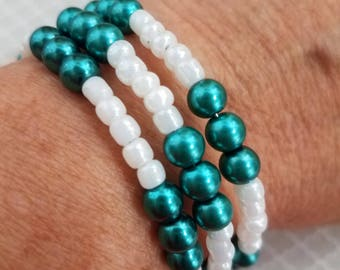 Handmade Ovarian Cancer Memory Wire Bracelet Featuring Teal and White Beads