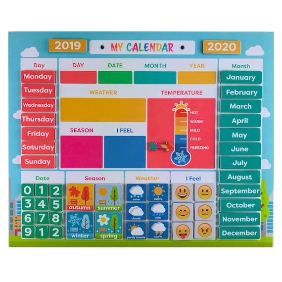 Kids Daily Magnetic Learning Board and Calendar Homeschool | Etsy