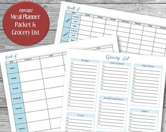 PRINTABLE Meal Planner Packet, Printable Meal Planner, Printable Grocery List, Printable Monthly Meal Planner, Printable Weekly Meal Planner