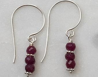 Rubies and Sterling Earrings