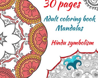 Mandalas. Adult coloring book. 30 Printable pages. digital. abstract