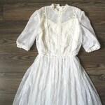 Bosom Friends Wedding Dress - 1970s does 1910s white lace dress, XS/S