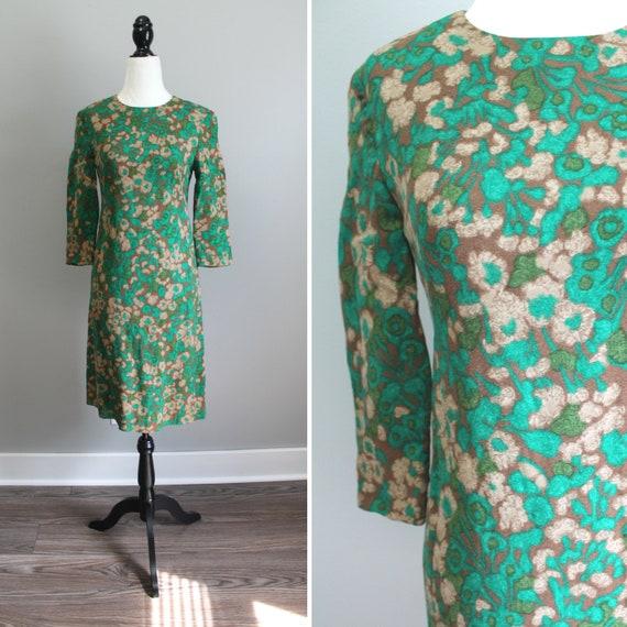 Watercolour Dress - 50s green and brown barkcloth