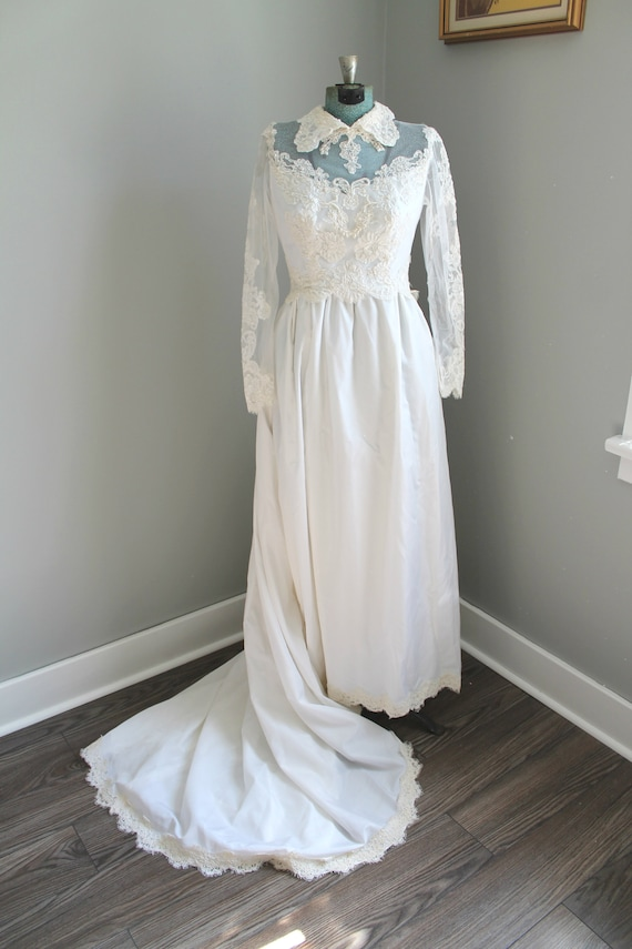 Odette Wedding Gown - 1960s beaded peter pan colla