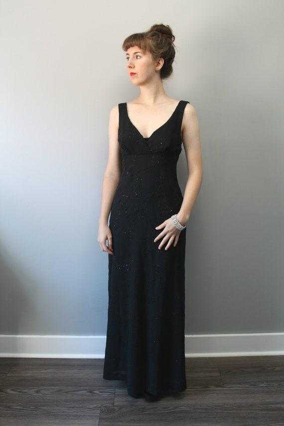 ea349fa7691f Elegant Affair Dress 90s black beaded full length gown size | Etsy