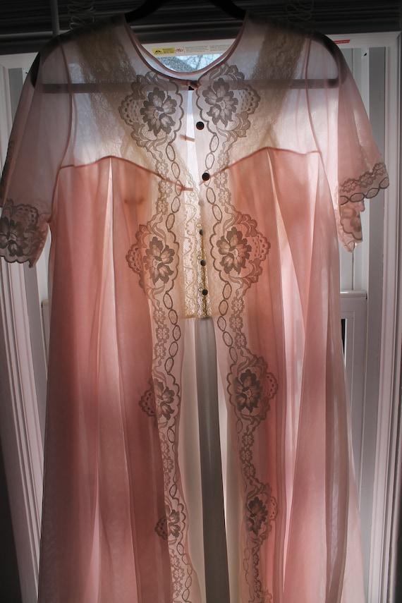 Bedroom Eyes Robe - 1950s pale pink chiffon robe,