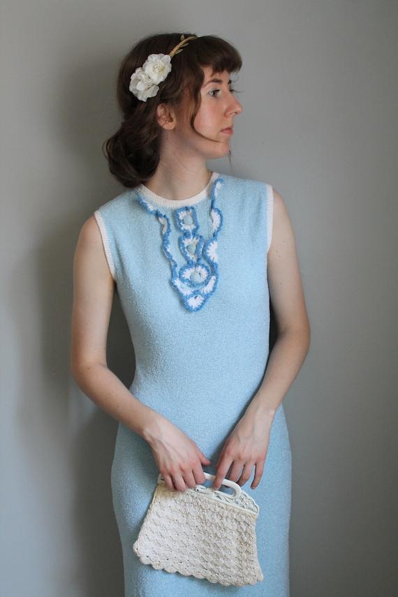 Company's Coming Dress - 30s/40s blue knit dress w