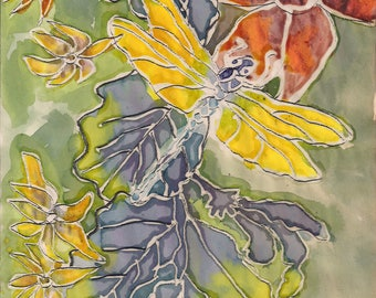 Flowers and wildlife picture using wax resist technique - choice of 2 art prints-