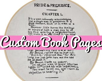 CUSTOM Book Page Handmade Embroidery