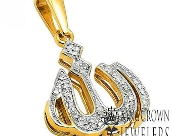 MEN/'S 925 STERLING SILVER LAB DIAMOND ARABIC ALLAH CHARM PENDANT TENNIS CHAIN