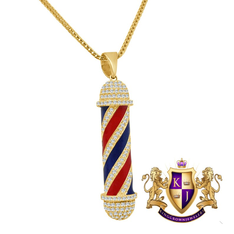 Real Sterling Silver Barber Shop Pole 14K Yellow Gold Finish Simulated Diamond Pendent Charm Chain Set