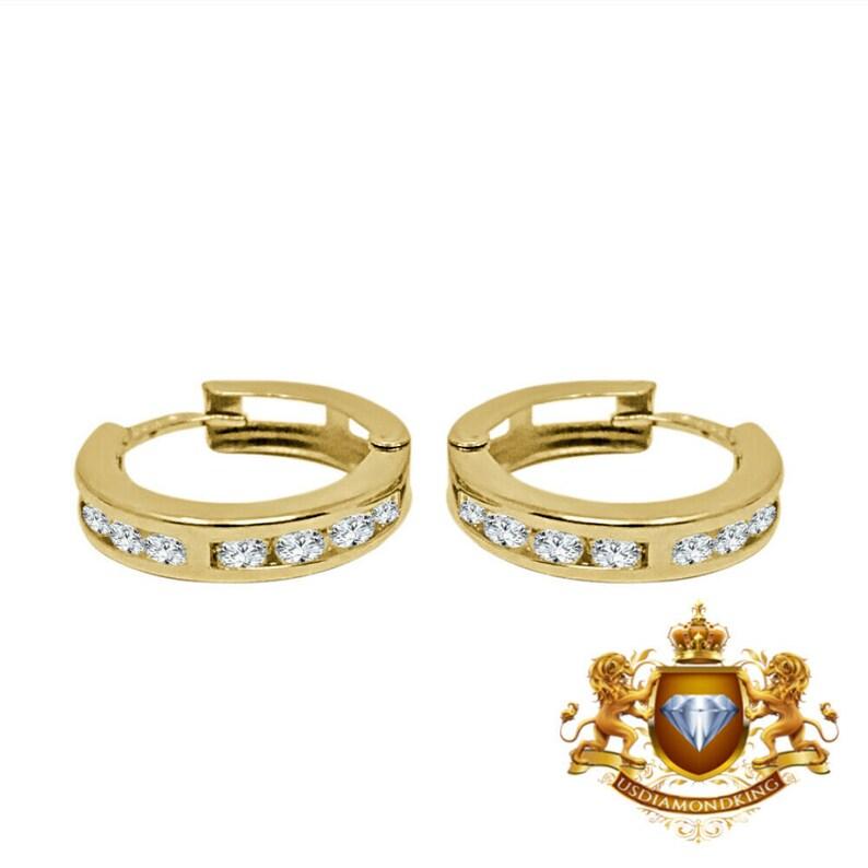 Ladies Girls 10k Real Authentic Yellow Gold Round Cz Huggies Earrings Loops Hoops