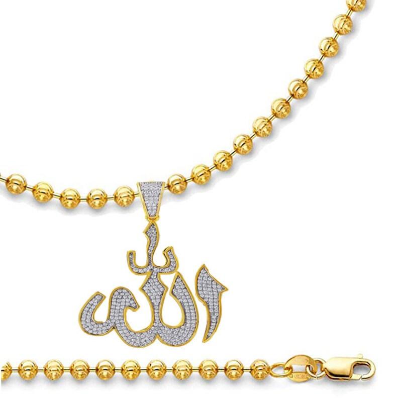 14K Real Gold Over Genuine Sterling Silver Simulated Diamond Allah God Muslim Pendant Islamic Arabic Charm Chain Set