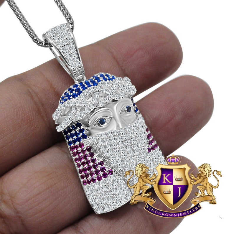 Multi Tone Real White Sterling Silver Jesus Face Wearing Mask Simulated Diamond Pendent Charm Chain