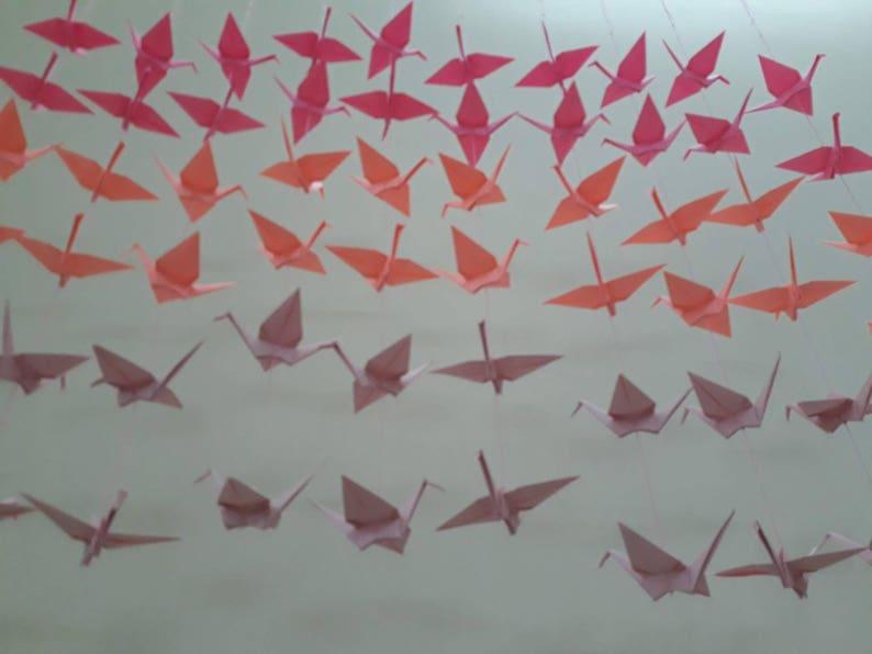 -Crane Backdrop -Wedding Backdrop cyber hp pink, cyber hp red, light pink 120 Cranes pink omber 20 Strands Set of 6