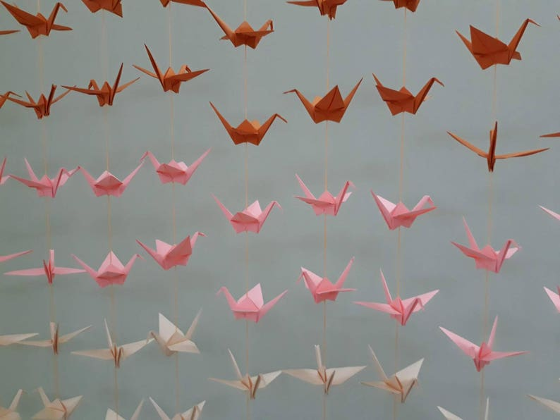cyber hp pink, peach, orange -Crane Backdrop -Wedding Backdrop 120 Cranes 20 Strands Set of 6