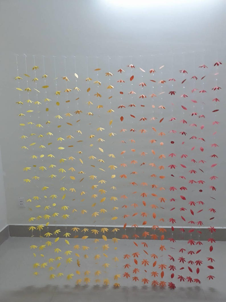 20 strands 300 paper flowers 200 the leaf party decor .... 500 clear beads 8MM: Paper Flower Curtain-weeding decor