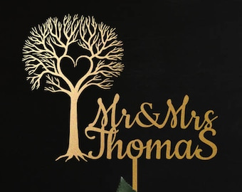 Wedding Cake Topper, mr and mrs Cake Topper for Wedding and Anniversary, last name cake topper