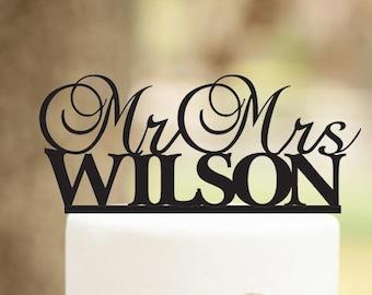 Custom Wedding Cake Topper, Custom Last Name, Mr and Mrs Cake Topper With anchor, Cake Topper for Wedding, Anniversary, Birthday