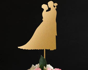 silhouette Wedding Cake Topper, Bride and Groom Wedding silhouette, wedding Anniversary Cake Topper