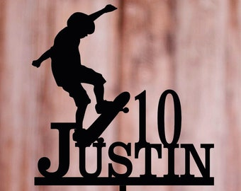 Skateboard cake topper, little boy Skateboarder birthday cake topper, Skater Tricks, Male Skateboarder,Personalized first name with age
