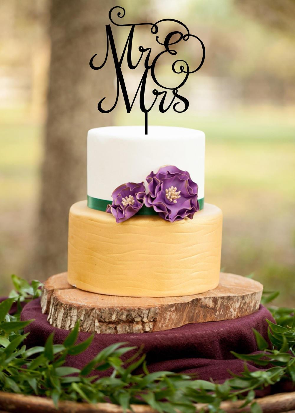 Mr and Mrs Wedding Cake Topper | Etsy
