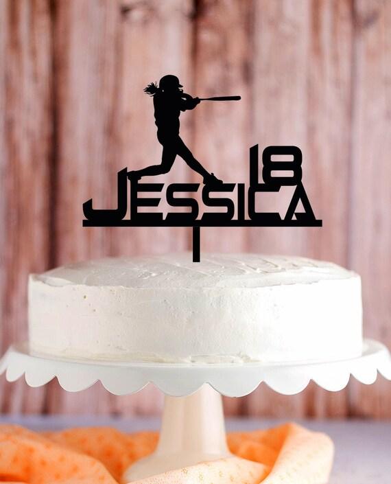 Softball Cake Topper Female Softball Birthday Cake Topper Etsy