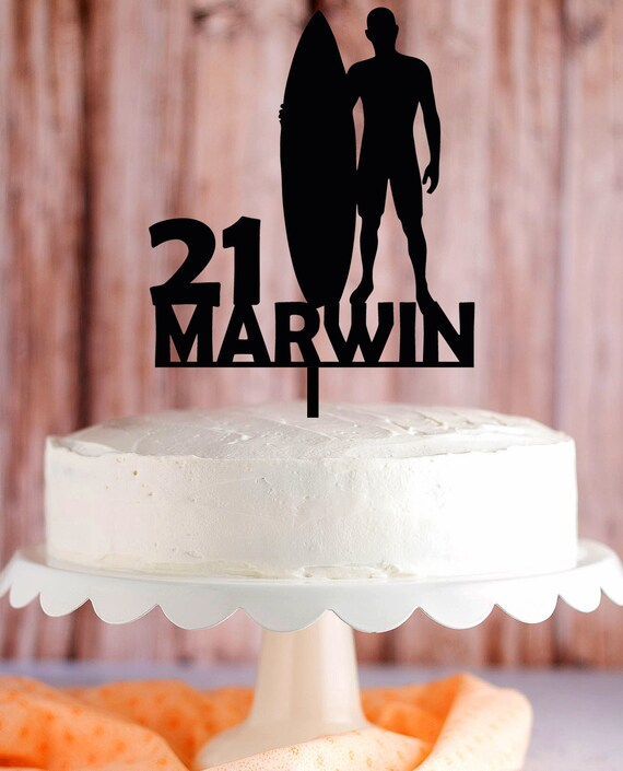 Surfboard Cake Topper Surfers Birthday Cake Topper Surfer With Surfboard Age Name Cake Topper Surfer With Surfboard Silhouette Topper