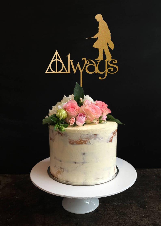 Harry Potter Wedding Cake.Harry Potter Cake Topper Harry Potter Wedding Cake Topper Always Cake Topper Gold Cake Topper