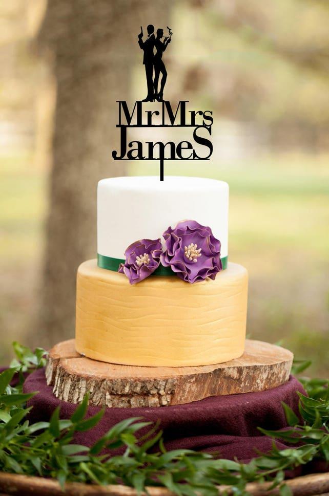 Wedding Cake Topper James bond couple Silhouette cake topper   Etsy