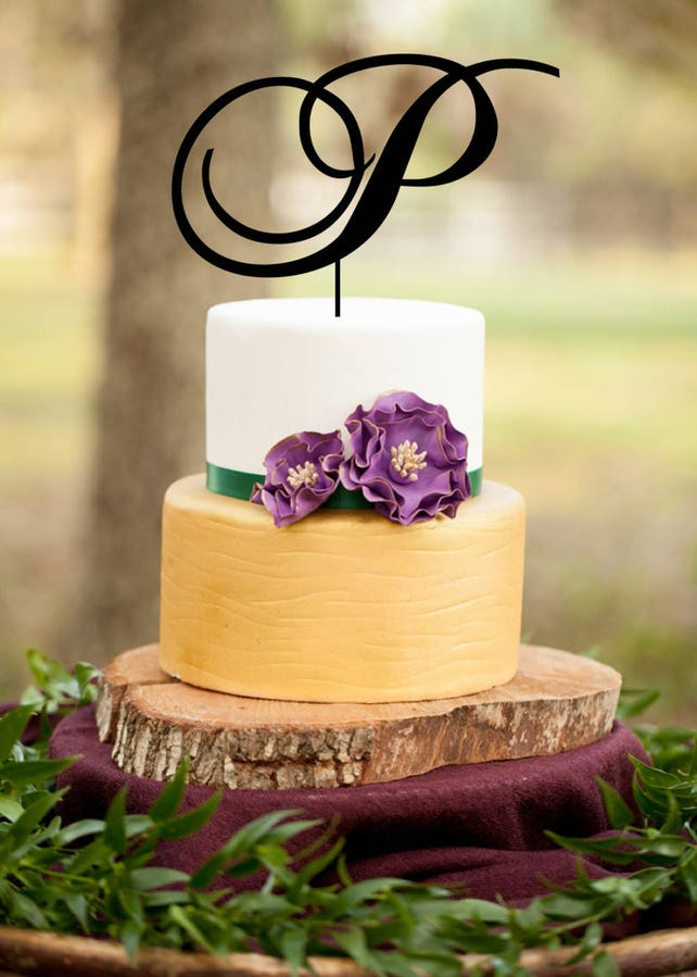 Single Letter Monogram Wedding Cake Topper with your | Etsy