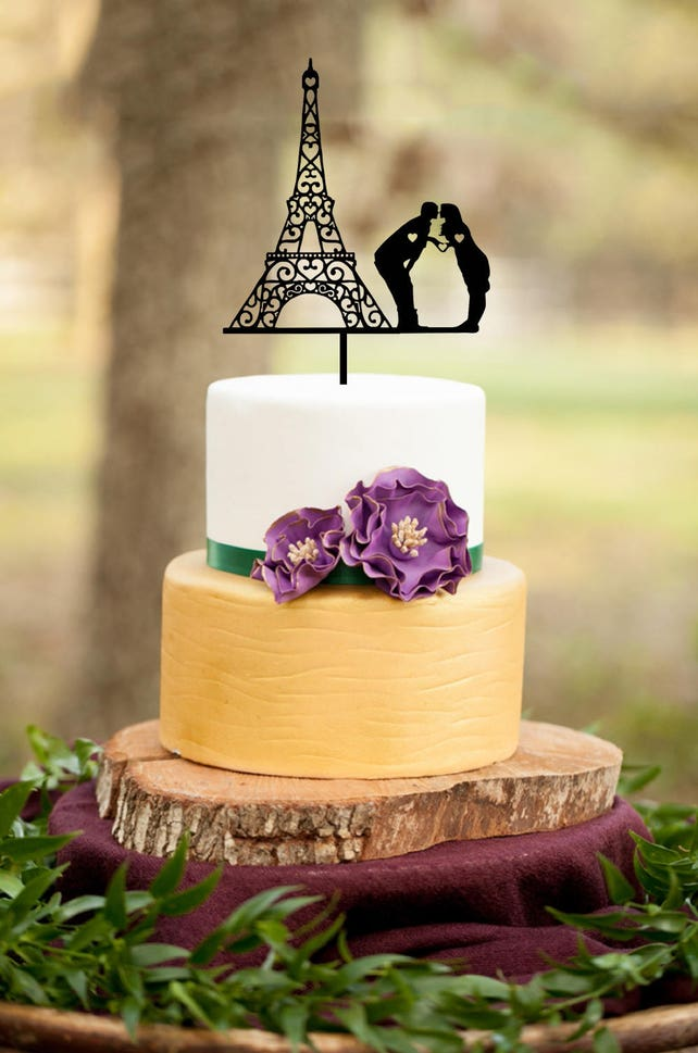 Wedding Cake Topper Eiffel Tower cake topperParis Couple | Etsy