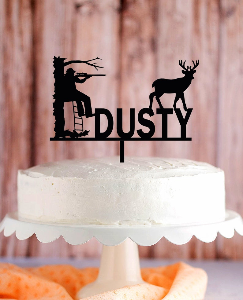 Miraculous Deer Hunter Cake Topper Hunting On Tree Stand Cake Topper Etsy Personalised Birthday Cards Sponlily Jamesorg
