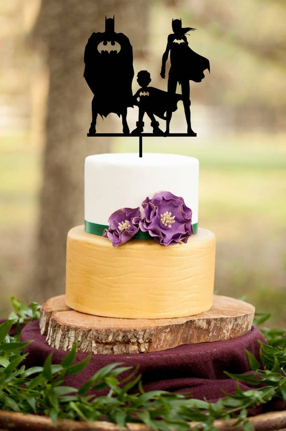 Wedding Cake TopperBatman Family Cake Topper Mr And Mrs Cake   Etsy