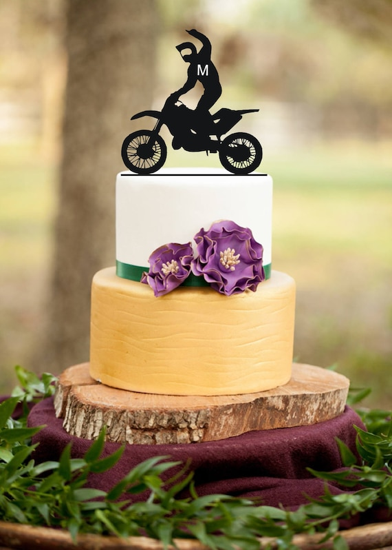 Motorcycle Cake TopperSilhouette Motorcycle Rustic | Etsy
