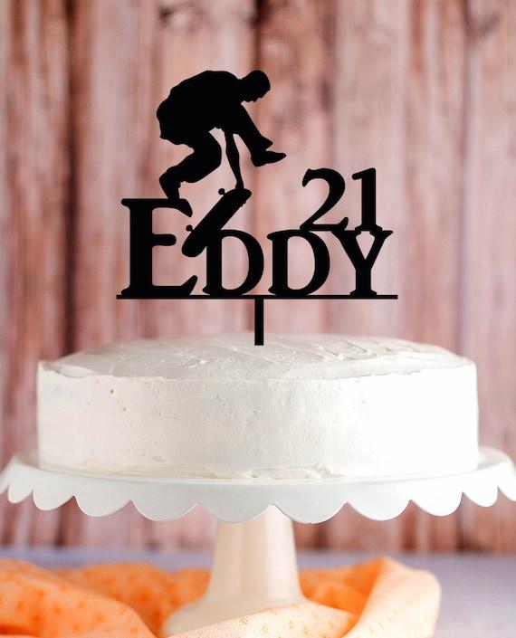 Strange Skateboarder Birthday Cake Topper Skater Tricks Extreme Etsy Personalised Birthday Cards Petedlily Jamesorg