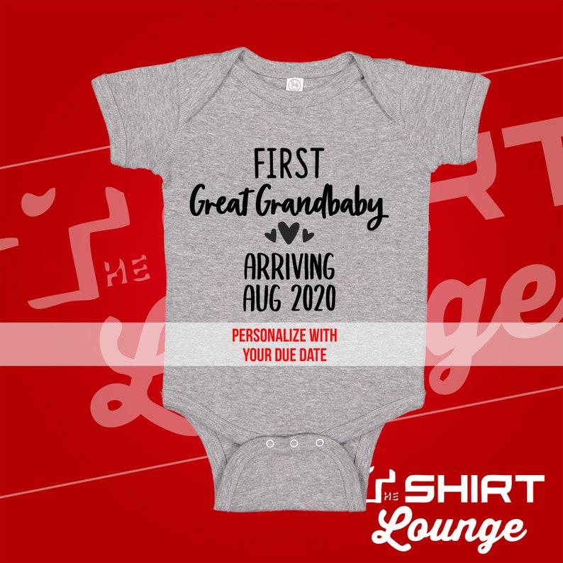 First Great Grandbaby Baby Announcement Reveal Gift Bodysuit Shirt for Great Grandma and Grandpa Custom Due Date First Grandkid Grandchild