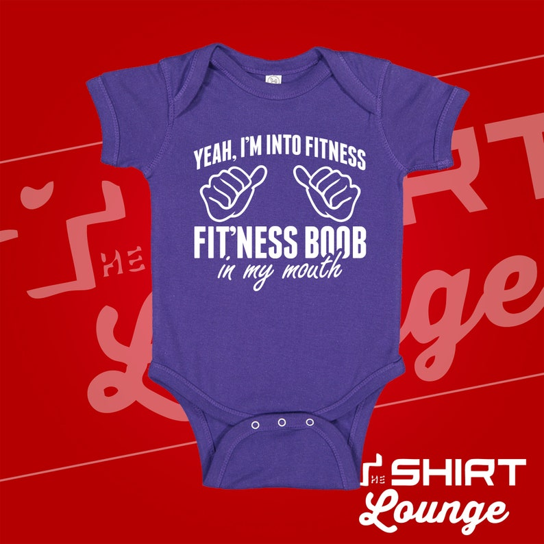 I/'m Into Fitness Fitness Boob in My Mouth Baby Bodysuit Toddler Shirt Funny Breastfeeding Baby Clothing Breastfed Baby Clothes Eat Local