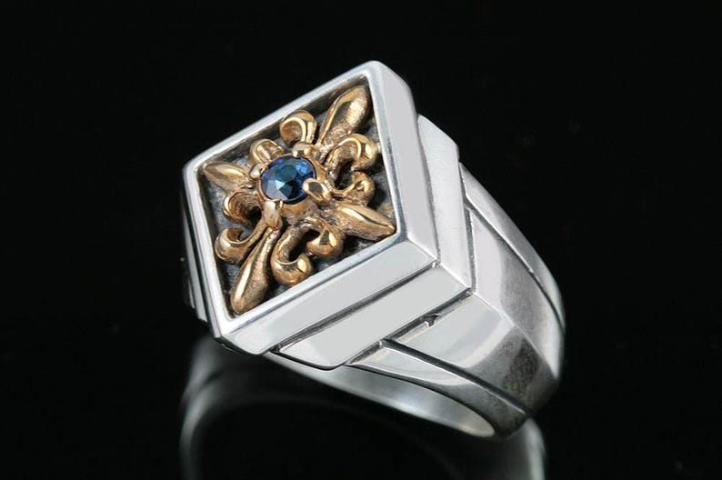 Sergius Gothic Style Sterling Silver Two Tone Ring With Natural Sapphire MR-048