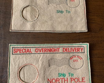 Personalized Elf Doll Envelope Costumes - North Pole Special Delivery Arrival and Return Options - FREE SHIPPING